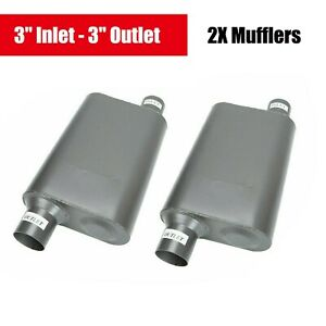 Pair Of Chambered Performance Race 3 Inch Offset Inlet Outlet Muffler