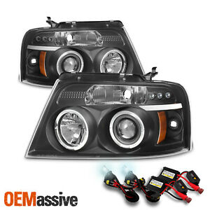 Fits 2004 2008 Ford F 150 Black Halo Projector Led Headlights 05 06 07 6k Hid