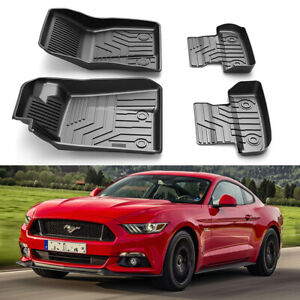 All Weather Front Rear Floor Mats Custom Fit 2015 2020 Ford Mustang 4pc Set