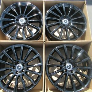 19 Mercedes C Class C43 Amg Oem Rims Wheels Gloss Black Front Rear Staggered 4