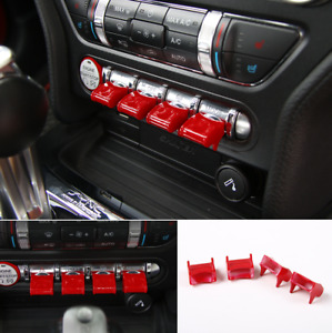 Red Interior Center Control Button Switch Cover Trims For 2015 2020 Ford Mustang