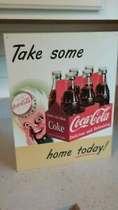 COCA COLA METAL SIGN Take Some Home Today featuring SPRITE BOY w/6 PACK OF COKE