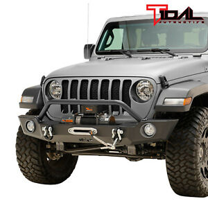 Tidal Heavy Duty Front Bumper W fog Light And Light Frame Fit For 18 20 Jeep Jl