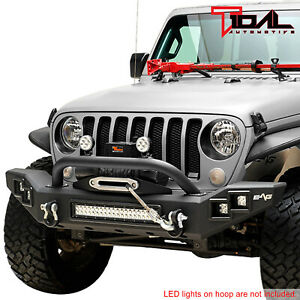 Tidal Led Front Bumper Heavy Duty With D ring Fit For 18 20 Jeep Jl Wrangler