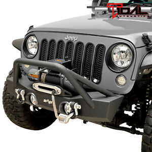 Tidal Stubby Front Bumper With Fog Light Hole Fit For 07 18 Jeep Jk Wrangler