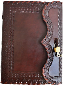 10 Leather Journal With Lock Writing Pad Blank Notebook Handmade Notepad Men