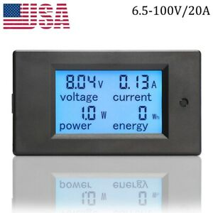 Dc 20a Lcd Digital Watt Current Power Voltage Meter Ammeter Voltmeter