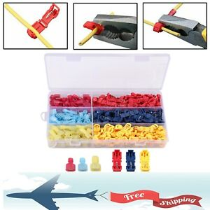 240pc T tap Splice Wire Connector Insulated Spade Kit Electrical Crimp Terminals