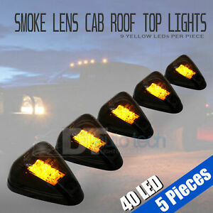 5pc Roof Top Truck Cab Marker Running Clearance Ford F250 F350 Smoked Led Lights