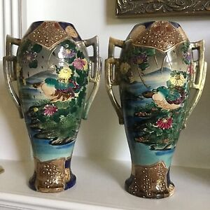 Antique Japanese Porcelain Moriage Nippon Vases Large 19th C Hand Painted