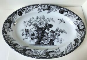 Antique Flow Mulberry Ironstone Staffordshire 18 Oval Platter Furnival Avon
