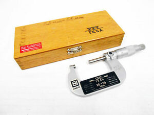 Tesa Group 25 50 Mm Outside Micrometer With Case Locking Swiss Made 01mm