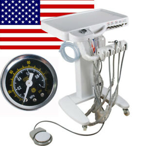 Mobile 4 hole Dental Delivery Cart Unit Equipment No Compressor Supply Us Stock