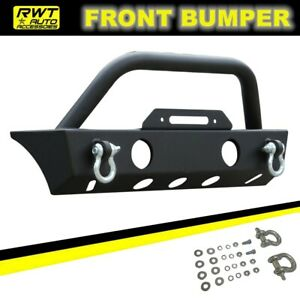 Black Front Bumper Fit 2007 2018 Jeep Wrangler Jk Rock Crawler With Winch Plate