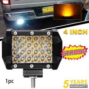 White amber 4 Inch Cree Led Work Light Bar Cube Pods Off Road Lamp Strobe Flash