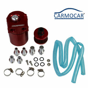 Oil Catch Reservoir Breather Can Tank filter Kit Cylinder Aluminum Engine Red