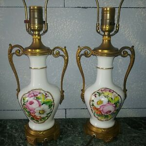 Antique Austrian Bronze Porcelain Lamps Vases Hand Painted Flowers 1900s