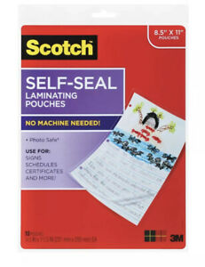 New Scotch Self sealing Laminating Pouches 10 Pouches