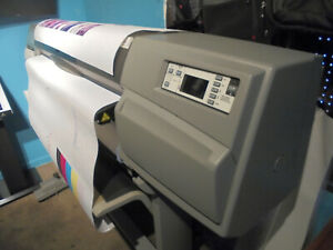 Hp Designjet 5500 Ps Uv 42 Plotter Wide Format Over 1 2 Ink Stand 2 Rolls