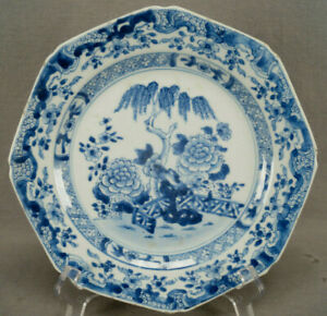 Chinese Export Porcelain Qianlong Blue White Willow Tree Fence Plate 1760s A