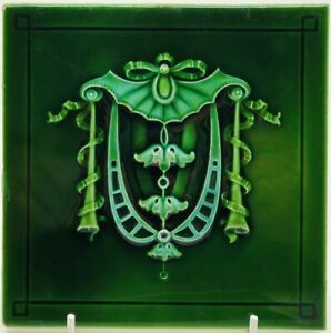 Antique Minton Hollins Co Molded Majolica Tile Art Nouveau Victorian