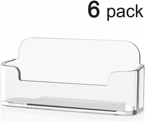 6pk Clear Acrylic Compartment Desktop Business Card Holder Display Stand