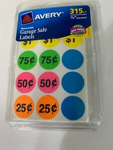 Pack Of 315 Avery Yard Garage Rummage Sale Price Tag Sticker Labels