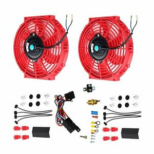 2x 10 Electric Radiator Cooling Fan Thermostat Relay Mounting Kits Red New