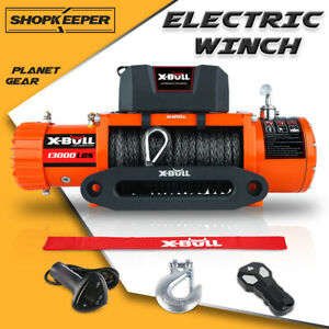 X Bull Electric Winch 13000lbs 12v Synthetic Rope Towing Truck Off Road 4wd