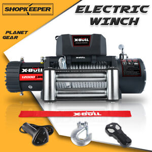 X bull Electric Winch 13000lbs 12v Synthetic Rope Towing Truck Jeep 4wd Trailer