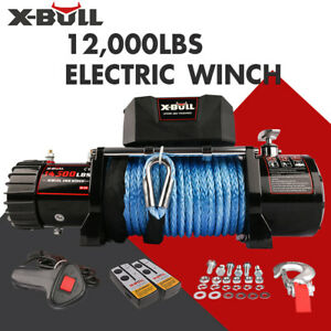 X Bull 12000lbs Electric Winch 12v Synthetic Rope Towing Truck Off Road Jeep 4wd