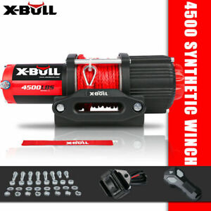 X bull Electric Winch 4500lbs 12v Synthetic Rope Tow Truck Atv Utv 4wd Boat