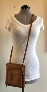 Fossil TanBrown Leather Crossbody Organizer Purse With Key $19.99
