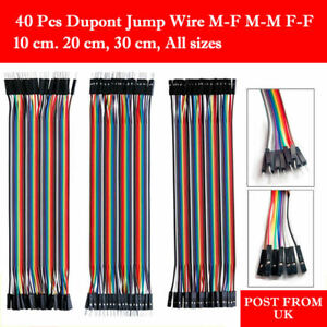 40 Dupont Jump Wire M f M m F f Jumper Breadboard Cable Lead Arduino Hobby Uk Po