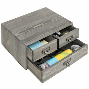 Mygift Vintage Gray Wooden 3 drawer Desktop Organizer
