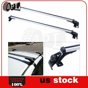 2x 48 Roof Top Rail Rack Cross Bar Aluminum Luggage Carrier W Adjustable Clamp