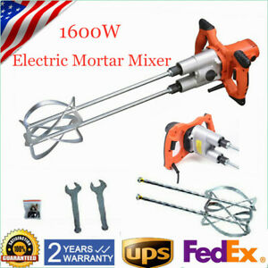 Twin Paddle Mortar Mixer Electric Cement Grout Hand Held Painting Mixer 1600w Us