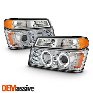 For 04 12 Colorado Canyon Led Dual Halo Projector Chrome Headlights Signal Lamp