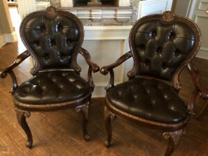 Theodore Alexander Button Leather Nail Heads W Gold Accented Wood Accent Chairs