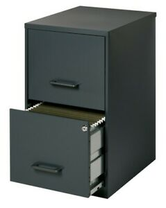 Smart File 2 drawer Steel Filing Cabinet With Lock Black