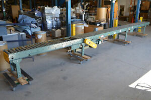 Hytrol 27 5 3 ph Powered Belt driven Roller Conveyor 3 section 18 w 2 box stops