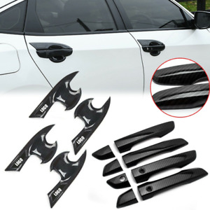 Door Handle Bowl Cover Fits For Honda Civic 2016 2020 Carbon Fiber Style