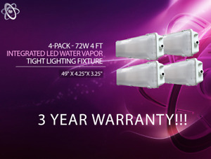 4 pack 72w 4 Ft Vapor Water Tight Hardwired Led Fixture 6500k Shop Light New