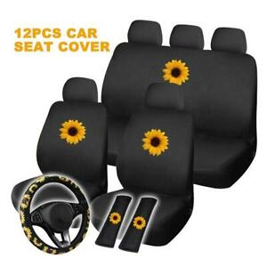 12pcs Car Seat Covers Front Rear Seat Back Head Rest Protector Cover Universal