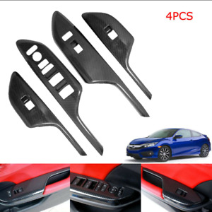 For 2016 20 Honda Civic Door Window Lock Switch Lift Cover Carbon Fiber Painted