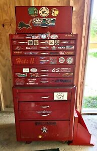 Vintage Tool Box Cabinet Used Rolling 3 In 1 With 12 Drawers Tools