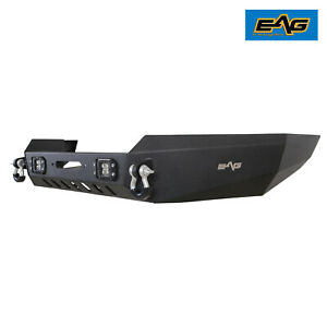 Eag Fits 99 04 Jeep Grand Cherokee Wj Steel Front Bumper W Led Lights