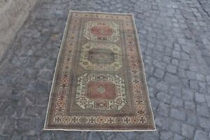 Vintage Turkish Oushak Area Rug Anatolian Wool Rug Antique Carpet 3 2x6 Ft Br