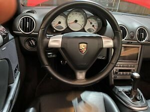 Porsche 911 Boxster Cayman 997 987 Black Leather Steering Wheel Airbag 2005 08