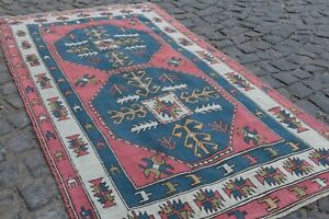 Vintage Turkish Oushak Area Rug Anatolian Wool Rug Antique Carpet 4 2x7 8 Ft Br